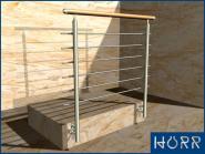 Geländer Wange + Rundstab + Holz  Handlauf