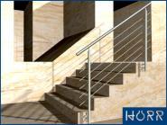 1m Geländer f. Treppe Wange + Rundstab + Edelstahl Handlauf