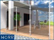 Geländer 2 mtr hoher WINDFANG I-Form aufgesetzt + Glashalter Edelstahl