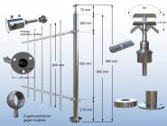 Geländerpfosten für Stabclip Kreuzverbinder Traversen Durchgang Bodenmontage