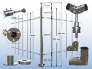 Geländer Pfosten für Stabclip Kreuz Verbinder Traversen ECK 90° Bodenmontage