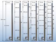 Geländerpfosten WANGE Pfosten Querstabhalter Außenseite Neigung verstellbar V2A