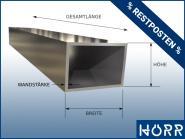 RESTPOSTEN Vierkantrohr 100x50 x 2 mm - 25 cm Länge Edelstahl Rohr