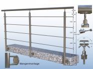 Edelstahl Treppengeländer 250 cm Handlauf 4 x Rundstab 2,5m Rundstahl Geländer