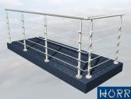 8m Balkongeländer L Form 5x3 m mit Edelstahl Handlauf Füllung 5 Streben