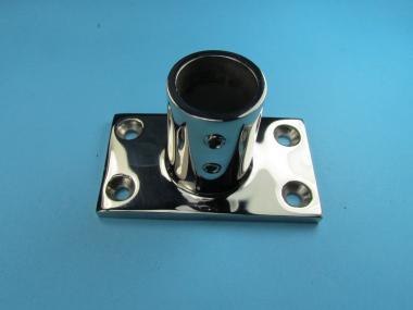 Eckige Grundplatte für Rohr 25 mm zum stecken mit 4 Löchern Rohrfuß V4A Meer 25 mm   ECKIG - 90 Grad