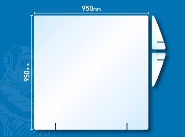 Hygiene Trennwand Hustenschutz Virenschutz Aufsteller 95 x 95 cm Hotel Kasse Aufsteller 95 x 95 cm   OHNE Ausgabe