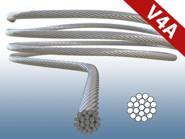 Seil Drahtseil Edelstahl 1,5 mm 1x19 DIN 3060 Stahlseil V4A hart + unflexibel 1,5 mm   1 Meter