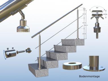 200cm Treppengeländer Edelstahlrohr Geländer Bausatz 2m mit V2A Rundstahl 12mm