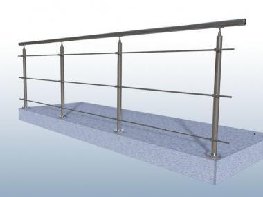 4 M Edelstahl Gelander Bausatz Innen Aussen Balkon Treppe 3 X