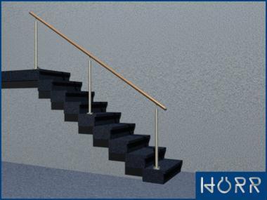 Geländer Boden 3 Pfosten BUCHE Handlauf 2,5m schräg