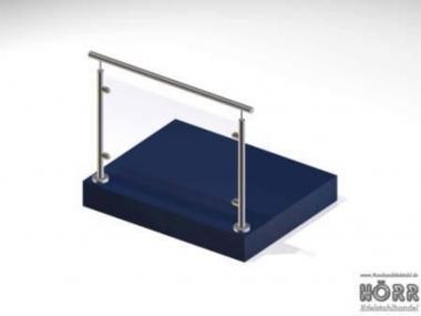 1m gel nder boden glashalter edelstahl handlauf bausatz balkongel nder. Black Bedroom Furniture Sets. Home Design Ideas