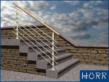Geländer f. Treppe Boden + Rundstab + Holz  Handlauf