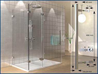 Bad Glastür Wand Tür Griff Dusche SQUARE Edelstahl 19x19 Länge 505 mm 50cm