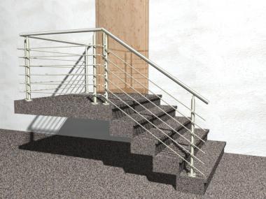 Gelander Treppe Mit Podest Und Abschluss Mit Edelstahl Handlauf Aus
