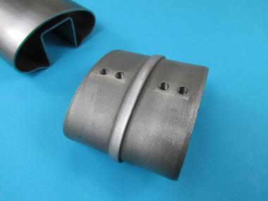 Glasleistenrohr Verbinder für OVAL Nut-Rohr 80x40 Edelstahl