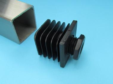 Lamellenstopfen für Vierkantrohr mit Stellfuß Schraub Fuß einstellbar PE