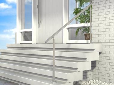 Treppengeländer Edelstahl Geländer Handlauf Eingang Tür Bausatz V2A Boden