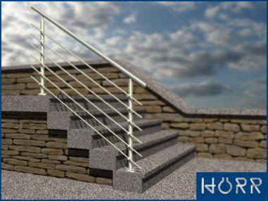 Geländer f. Treppe Boden + Rundstab + Edelstahl Handlauf