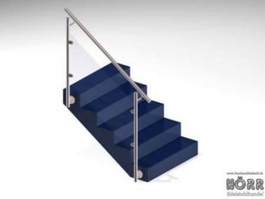 Geländer f. Treppe Wange + Glashalter + Edelstahl Handlauf