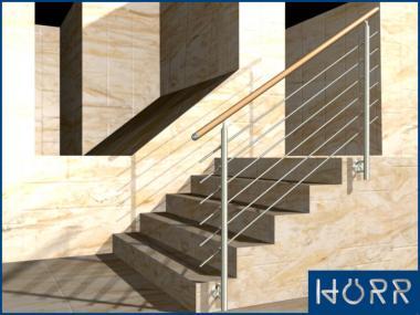 1m Edelstahl Geländer Treppe Wange + Rundstab + Holz Buche Handlauf für Innen