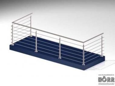 Geländer U-Form Boden + Rundstab + Edelstahl Handlauf 6 Meter