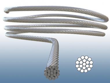 Drahtseil 1x19 V4A Edelstahl Seil hart und unflexibel V4A AISI 316 1.4401