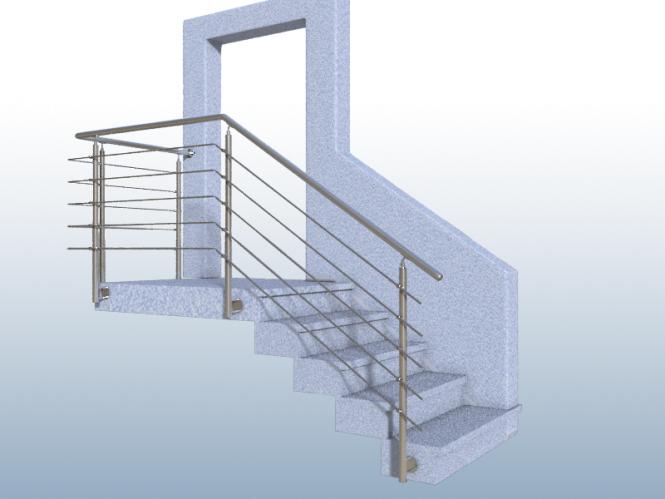 gel nder treppe mit podest und abschluss mit edelstahl handlauf f llung 5 streben. Black Bedroom Furniture Sets. Home Design Ideas