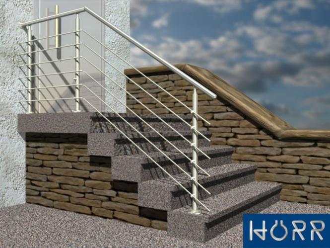 gel nder treppe mit podest mit edelstahl handlauf aus konfigurator. Black Bedroom Furniture Sets. Home Design Ideas