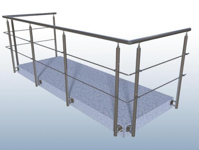 7m Geländer U-Form mit Edelstahl Handlauf Füllung 2 Streben Pfosten Seite