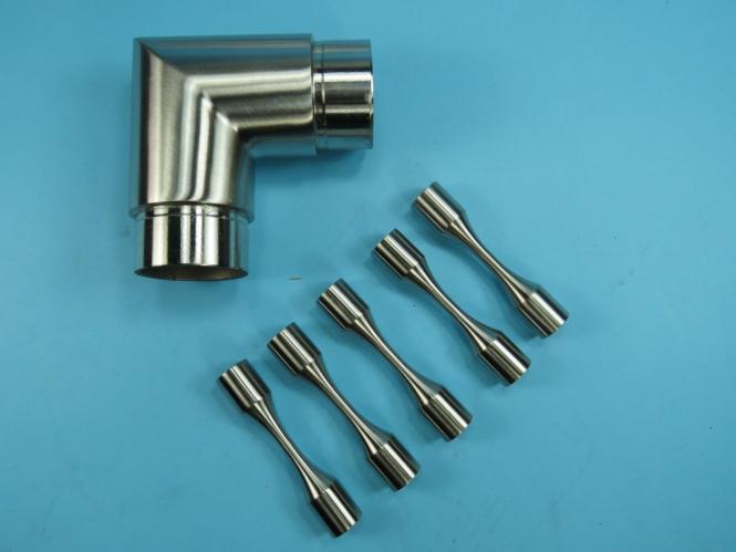 Edelstahl Eckverbinder 90° für 5 runde Streben 12 mm + 1 x Handlaufrohr 42,4 für 5 Streben