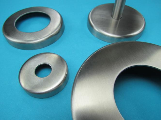 Abdeckrosette 87x10 mm V2A mit Bohrung Ø 49 mm für Rundrohr Ø 48,3 mm