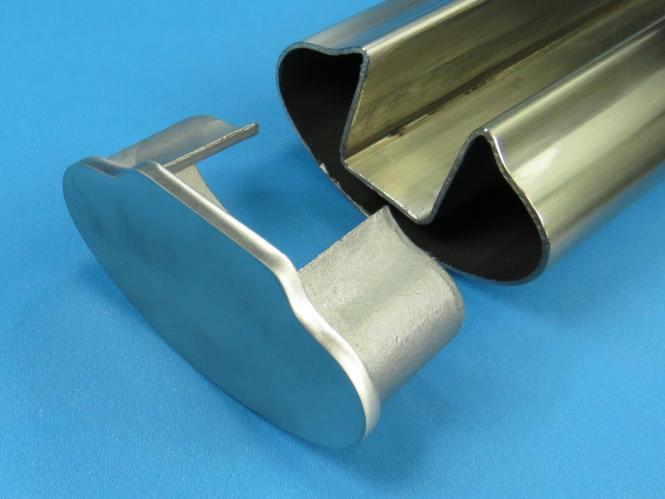 Glasleistenrohr Stopfen / Endkappe für OVAL Nut-Rohr 80x40 Edelstahl