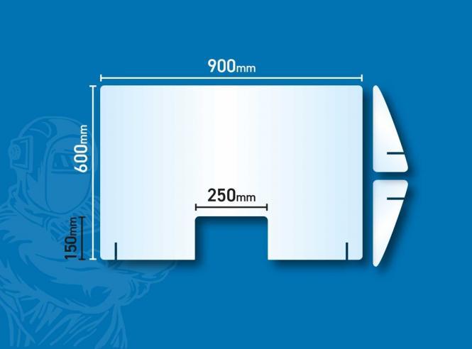 Acrylglas Thekenaufsteller 60 x 90 cm Spuckschutz Hygienescheibe