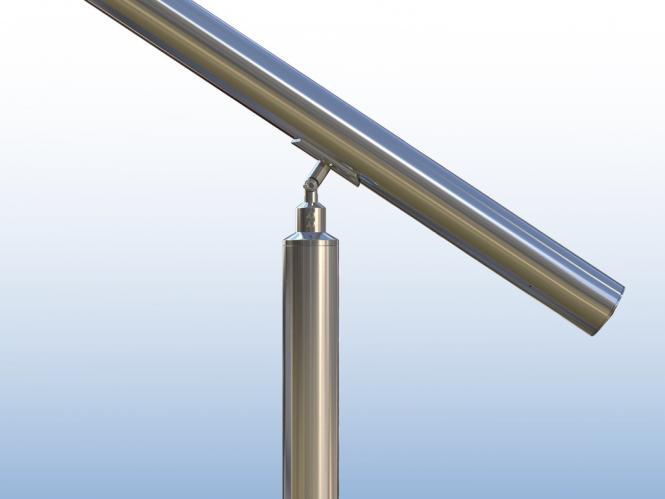 0,9m hoch Handlauf mit Tr/ägerplatten 2 Querstreben je 2 Pfosten Au/ßengel/änder Winkelverstellbar 1m lang Edelstahl Treppengel/änder Seitenmontage L:1000mm H:900mm Zubeh/ör