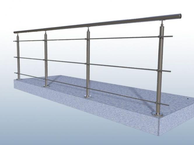 edelstahl gel nder balkon 3 x rundstab handlauf 5 meter v2a treppe 3 x rundstab bis 5 m 4. Black Bedroom Furniture Sets. Home Design Ideas