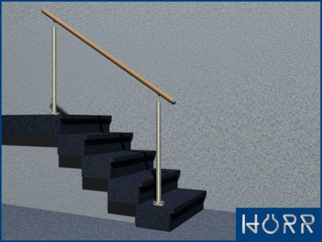 Geländer Boden 2 Pfosten BUCHE Handlauf 1,45m schräg + gerade Treppe oder Podest