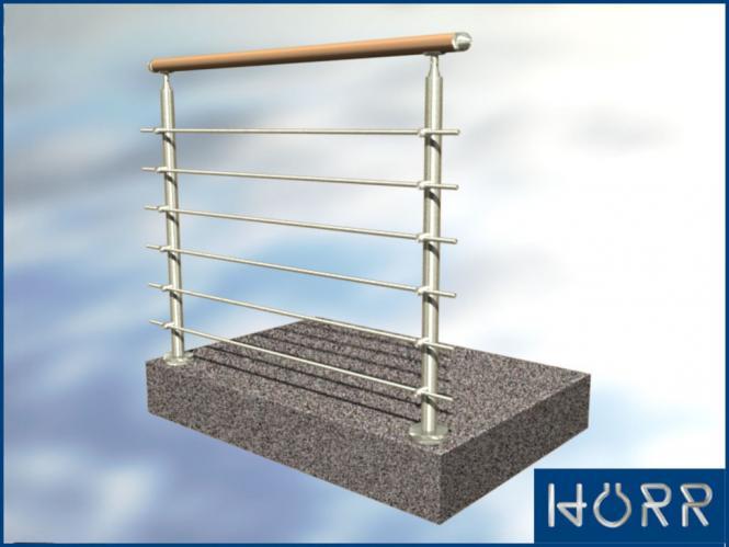 1m edelstahl gel nder boden rundstab holz buche handlauf f r innen. Black Bedroom Furniture Sets. Home Design Ideas