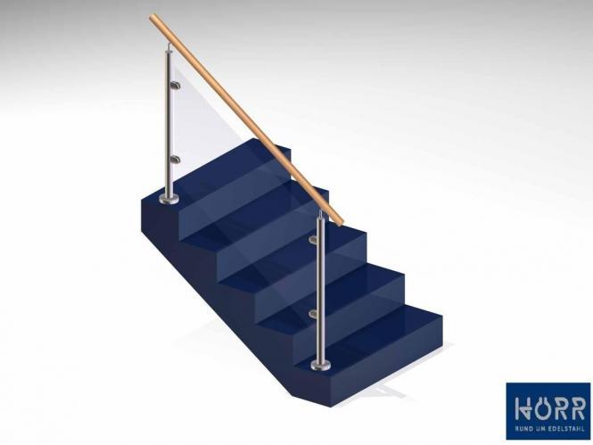 Geländer f. Treppe Boden + Glashalter + Holz  Handlauf