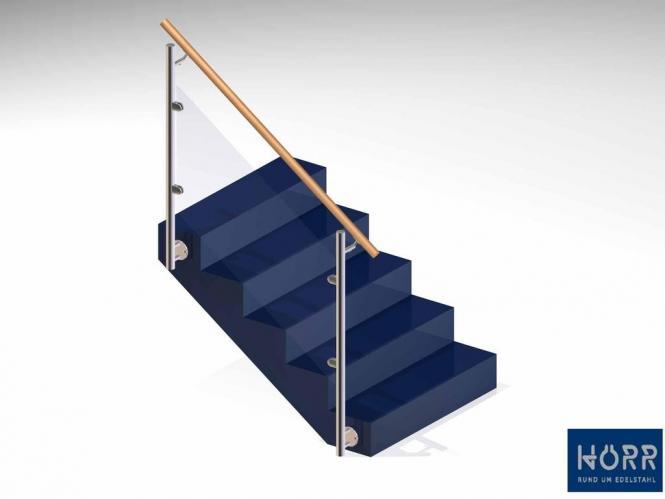 Geländer f. Treppe Wange + Glashalter + Holz  Handlauf