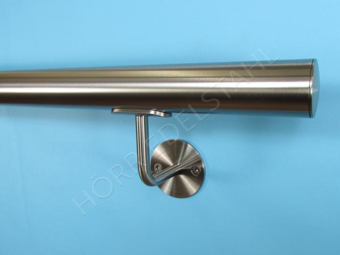 Edelstahl Handlauf /Ø42,4mm mit geraden Handlaufhaltern//Br/üstung 270cm 3 Edelstahl-Halter aus einem St/ück//ungeteilt