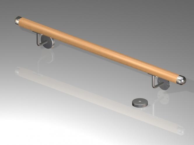 Handlauf Holz - BUCHE - bis 200 cm - 2 Halter BUCHE | 2,0 m / 2 x Handlaufträger