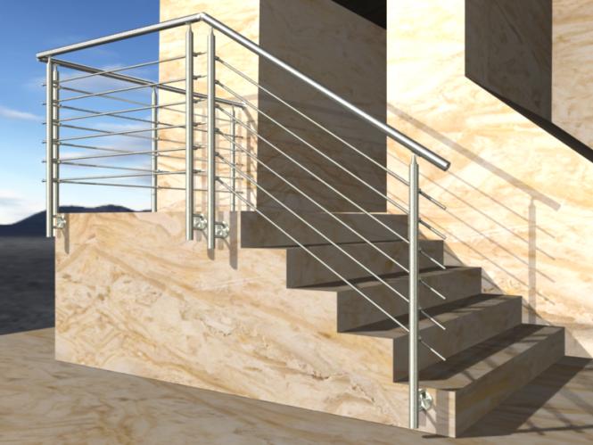 gel nder treppe mit podest und abschluss mit edelstahl handlauf f llung 6 streben. Black Bedroom Furniture Sets. Home Design Ideas