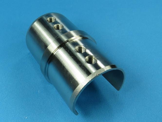 Glasleistenrohr Verbinder für Rohr 42,4 + 48,3 Edelstahl Glasleisten