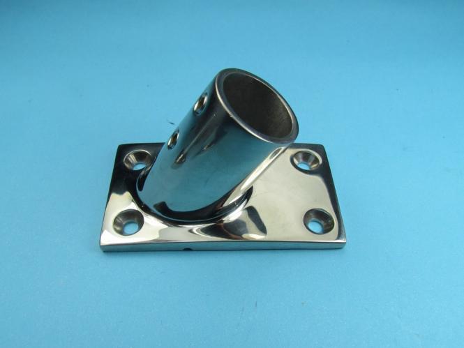 Edelstahl Rohrhalter 22 mm Eckplatte 60° geneigt Salzwasser Säurebeständig 22 mm   ECKIG - 60 Grad