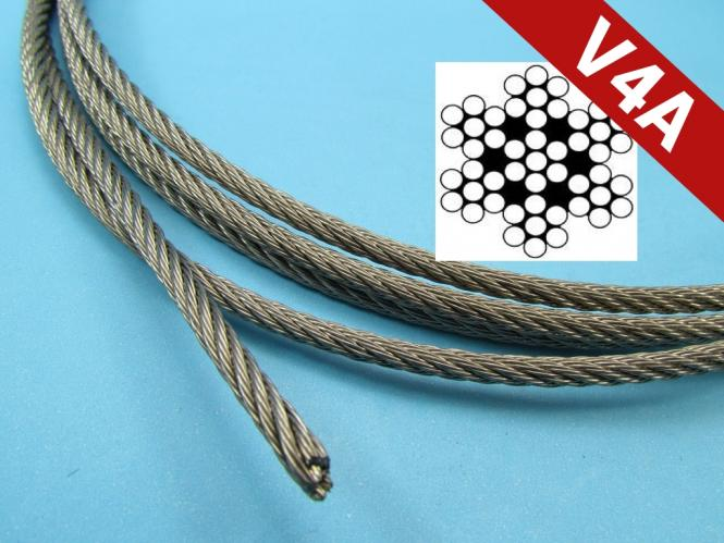 Seil Drahtseil Edelstahl 4 mm 7x7 DIN 3055 Stahlseil V4A 4 mm | 1 Meter
