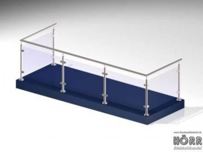 Geländer U-Form Boden + Glashalter + Edelstahl Handlauf 5 Meter