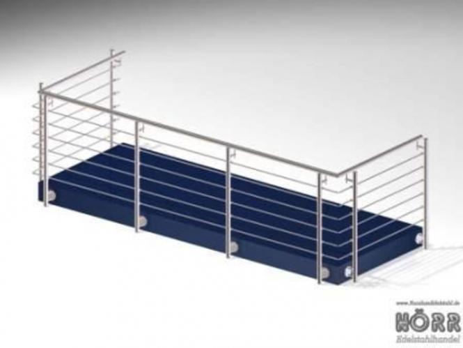 Geländer U-Form Wange + Rundstab + Edelstahl Handlauf 1,5 x 3,5 x 1,5 Meter