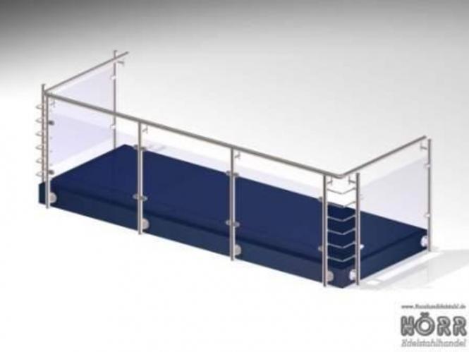5,5m Geländer U-Form Wange + Glashalter + Edelstahl Handlauf