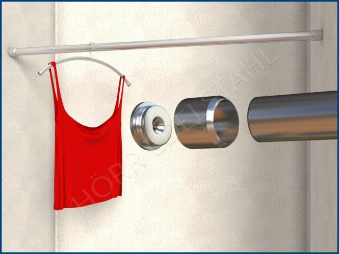 garderobenstange kleiderstange rohrhalter 27 42 mm l nge bis 2 5 meter. Black Bedroom Furniture Sets. Home Design Ideas